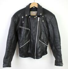 Women's Vintage Leather Perfecto Single Track Biker Jacket Black West Point - 38