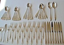 """1847 Rogers Bros IS """"Springtime"""" Silverplate 64 pc set for 8 incl serv pcs #9300"""