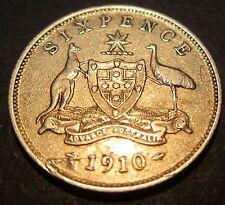 1910 Australia 6d Sixpence ** ERROR DELAMINATION?? ** #S610-2 =HIGH GRADE=