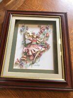Fairy Gathering Sweet peas By Sharon Healey signed decoupage Box framed artwork