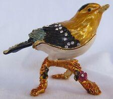 QIFU Rare Finch Bird Swarovski Collectable Decorative Pill/Trinket Box