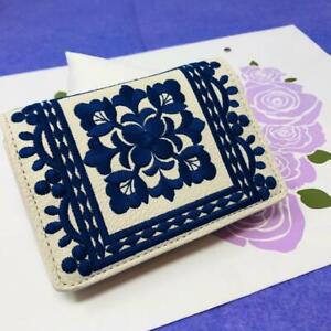 Brighton Casablanca Card Case blue/white embroidered design NWout tag