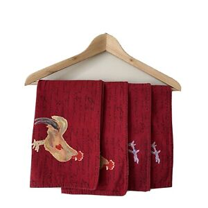 williams sonoma country french script rooster placemat set of 4 placemats red