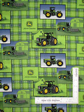 John Deere Fabric Green Tractors Deer Logo Farm Machines Plaid CP41614  ~ Yard