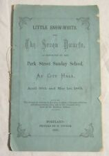 PORTLAND, MAINE - 1869 Fairy Tale Script -- Little Snow-White & the Seven Dwarfs