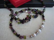 LDN_Collier Pierre naturelle Tourmaline Cristal Swarovski Perles  Argent