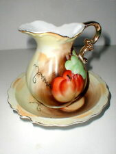 Hand Painted Fruit Design Bowl & Pitcher Set w 22k Gold - Made in Japan