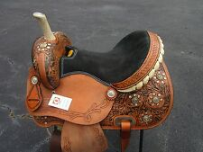 15 16 BARREL RACING SHOW COWBOY PLEASURE TOOLED LEATHER WESTERN HORSE SADDLE