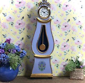 1:12 Dollhouse miniature Swedish Mora longcase working clock Blue