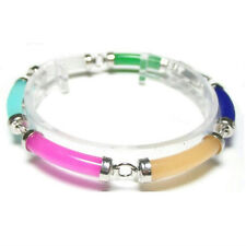 "7.5"" 6 PC MULTI COLOR JADE 18K WGP BAMBOO BRACELET"