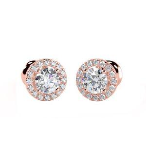 0.40 Ct Round Diamond Halo Set Screw Back Stud Earrings, 18k Rose Gold