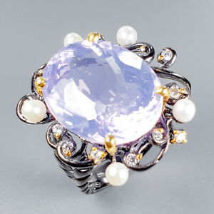 Top AAA35ct+ Natural Lavender Amethyst 925 Sterling Silver Ring Size 8.5/R124780