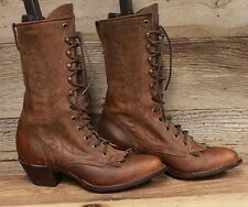 "Tony Lama Womens 13"" High Lace Leather Packer Boots sz 6.5B MSRP $219"