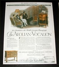 1920 OLD MAGAZINE PRINT AD, AEOLIAN-VOCALION PHONOGRAPH FOR CHRISTMAS, TREE ART!