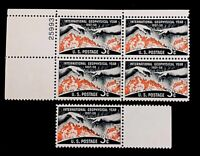 US Stamps, Scott #1107 Geophysical 3c Plate Block & single. VF/XF M/NH Fresh.