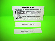 Williams Liberty Bell Orig. NOS 1977 Pinball Machine Instruction Score Cards #1