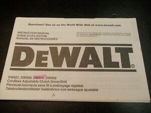 Instruction Manual DeWalt Cordless Adjustable Driver Drill DW927 DW928 DW929 959