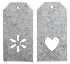 Ib Laursen 2er Set Anhänger Geschenkanhänger Herz und Blüte 8 cm Landhaus Shabby