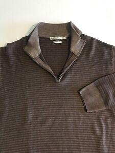 Peter Millar Mens XL 100% Wool Brown 1/4 Zip Longsleeve Pullover