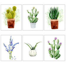 Modern Art Posters Prints Botanical Green Plant Cactus Pop Watercolor Wall Decor