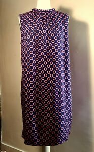 LAURA ASHLEY BLUE WITH PINK CIRCLES SHIFT DRESS with COTTON LINING NEW 16 42