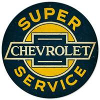 """SUPER SERVICE CHEVROLET 14"""" ROUND HEAVY DUTY USA MADE METAL ADVERTISING SIGN"""
