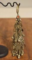 "Beads Silver Earring Kuchi Swat Bell Single Stone Tribal Middle Eastern Kuchi 7"""