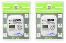 2 X PIFCO LCD Display Carbon Monoxide Alarm Detector EN 50291 Certified Co