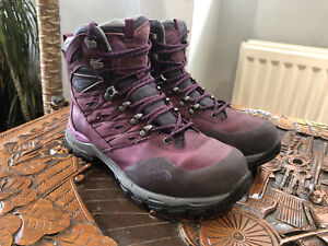 The North Face Hedgehog Trek GTX Womens Hiking Boots UK Size 6 In Purple Leather