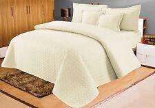 Cotton Sateen Embossed Bedspread With 2 Pillowshams & 2 Cushion Shams Cream