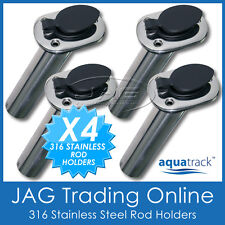 4 x 316 MARINE GRADE STAINLESS STEEL 30° ANGLED BOAT FISHING ROD HOLDERS & CAPS