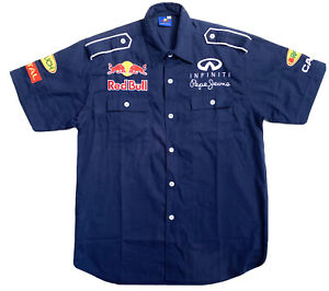 Pepe Jeans Redbull Shirt Mens XL Extra Large Blue Short Sleeve Embroidered