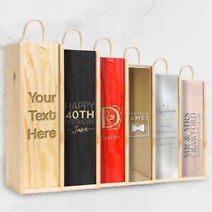 Personalised Engraved Wooden Wine Gift Box Birthday / Wedding / ANY TEXT
