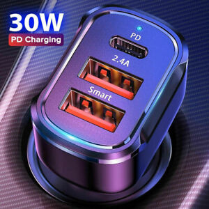 Dual USB PD 30W Type-C Car Charger Fast Charge Adapter For iPhone 11 12 Pro Max