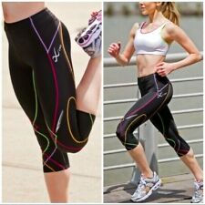 CW-X Womens Tights Size Small Black Rainbow Stabilyx Running Workout Pants New