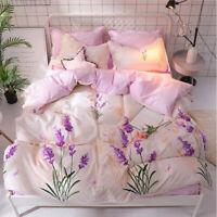 Printing flowers Pink Bedding Set Duvet Cover+Sheet+Pillow Case Four-Piece New