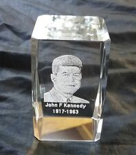JOHN F KENNEDY 1917-1963 TRENDY CRYSTAL GLASS PAPER WEIGHT ENCASED ETCHING