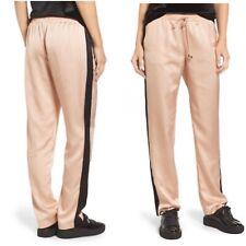 Socialite Pink With Black Stripe Satin Track Pants Size Medium NWT