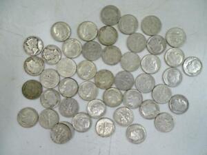 Vintage United States Silver Dime Coin 10 Cent Set Mercury Eisenhower x47 1867 3