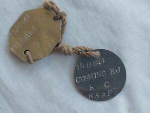 WW2 Australian RAAF metal dog tag pair. 1944-47.