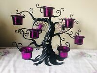 Candle Halloween Black Metal Tree w Spider Web Tea Light Purple Votive Holders