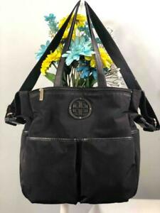 """TORY BURCH """"Marion"""" Black Nylon Baby Diaper Bag with Changing Pad"""