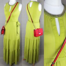 Oasis Ladies Women Lime Green Gypsy Style Belted Maxi Dress Long Size S (10-12)