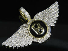 Men Sterling Silver Yellow Gold Finish Bentley Flying Logo Lab Diamond Pendant