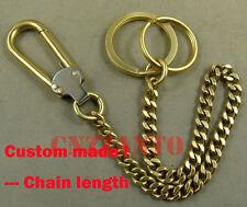 Handmade Solid Brass Fob Wallet key chain ring holder Belt hook clip