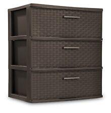 3 Drawer Wide Organizer Cart Plastic Storage Office Container Tower Bin Box