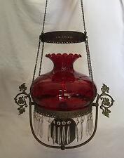 ANTIQUE EAGLE HANGING KEROSENE LAMP CHAIN & PULLEY SYSTEM