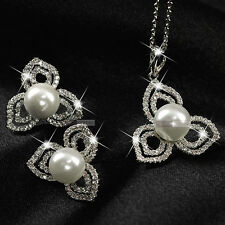 18k white gold made with SWAROVSKI crystal pearl earrings pendant necklace set