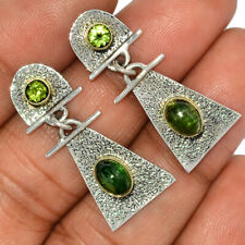 925 Sterling Silver Earrings Jewelry Ae127297 New listing Two Tone - Green Tourmaline