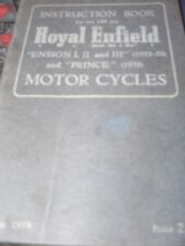 ROYAL ENFIELD 148cc ENSIGN 1 / II AND III / PRINCE INSTRUCTION BOOK 1953-59